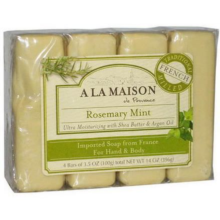 A La Maison de Provence, Hand&Body Bar Soap, Rosemary Mint, 4 Bars 100g Each