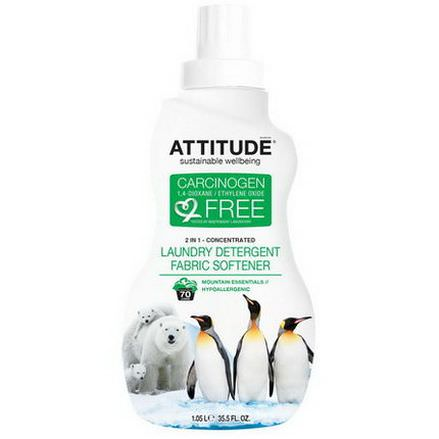 ATTITUDE, Concentrated Laundry Detergent Fabric Softener, Mountain Essential 1.05 L