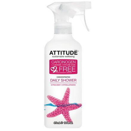 ATTITUDE, Daily Shower Concentrated Cleaner, Citrus Zest 475ml