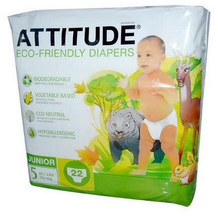 ATTITUDE, Eco-Friendly Diapers, Junior, Size 5 12+ kg, 22 Diapers