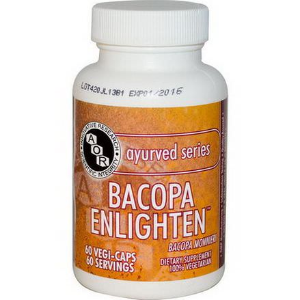 Advanced Orthomolecular Research AOR, Ayurved Series, Bacopa Enlighten, 60 Vegi-Caps