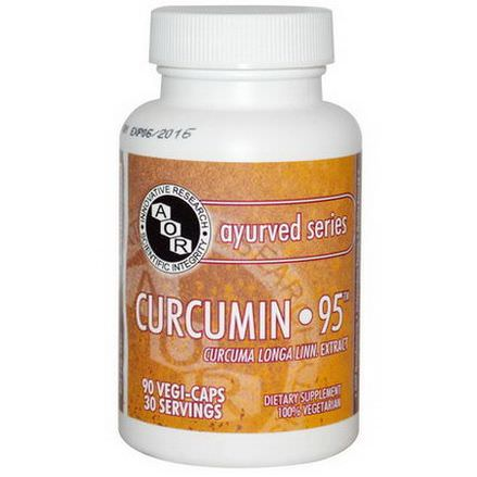 Advanced Orthomolecular Research AOR, Ayurved Series, Curcumin-95, 90 Vegi-Caps