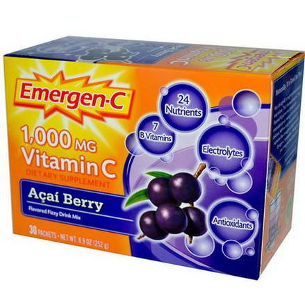 Alacer, Emergen-C, 1,000mg Vitamin C, Acai Berry, 30 Packets, 8.4g Each