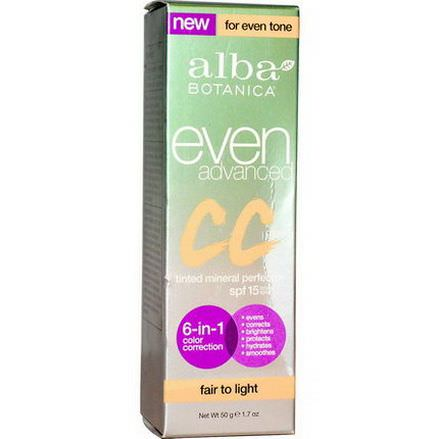 Alba Botanica, Even Advanced CC Cream, SPF 15, Fair to Light 50g