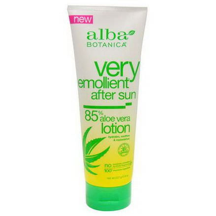 Alba Botanica, Very Emollient After Sun, 85% Aloe Vera Lotion 227g