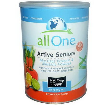 All One, Nutritech, Active Seniors, Multiple Vitamin&Mineral Powder, Unflavored 1000g