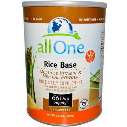 All One, Nutritech, Rice Base, Multiple Vitamin&Mineral Powder, Unflavored 1000g