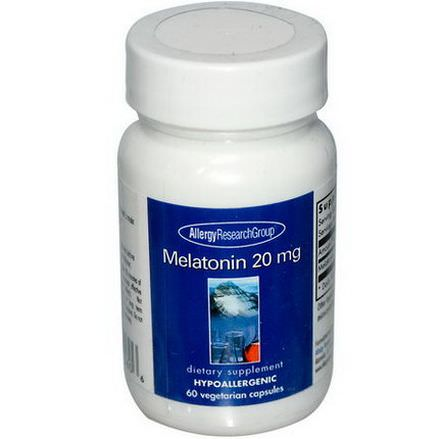 Allergy Research Group, Melatonin 20mg, 60 Veggie Caps