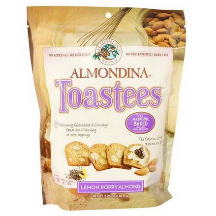 Almondina, Toastees, Lemon Poppy Almond 148.9g