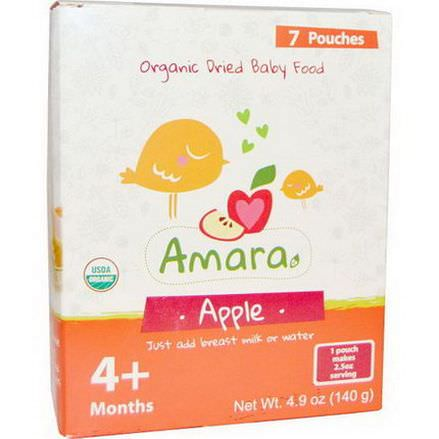 Amara Foods, Organic Dried Baby Food, Apple, 4+ Months, 7 Pouches 20g Each