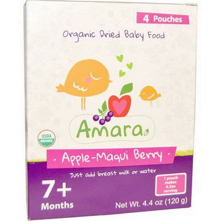 Amara Foods, Organic Dried Baby Food, Apple-Maqui Berry, 7+ Months, 4 Pouches 30g Each