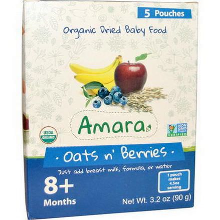 Amara Foods, Organic Dried Baby Food, Oats N Berries, 8+ Months, 5 Pouches 18g Each