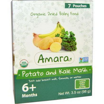 Amara Foods, Organic Dried Baby Food, Potato and Kale Mash, 6+ Months, 7 Pouches 14g