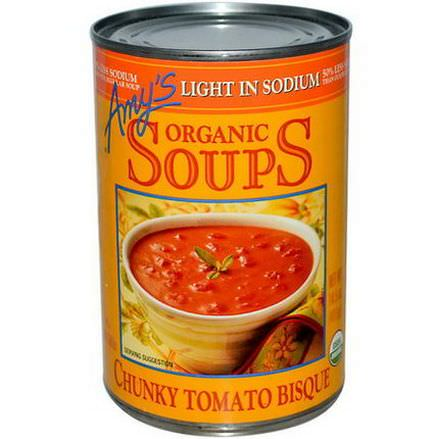 Amy's, Organic Soups, Chunky Tomato Bisque, Light in Sodium 411g