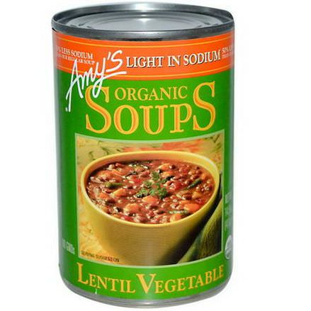 Amy's, Organic Soups, Lentil Vegetable, Light in Sodium 411g