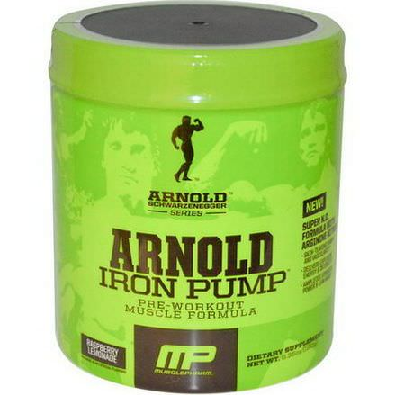 Arnold, Iron Pump, Pre-Workout Muscle Formula, Raspberry Lemonade 180g