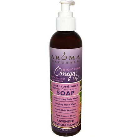 Aroma Naturals, Extraordinary Natural Castile 4-in-1 Soap, Lavender Passion Flower 237ml