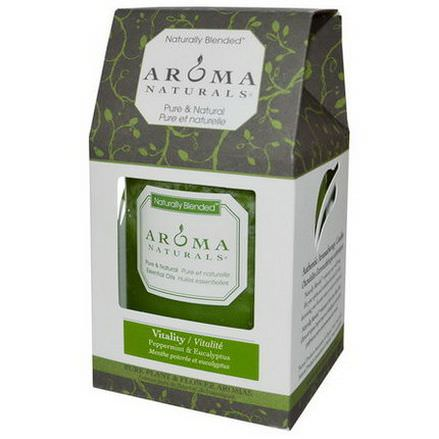 Aroma Naturals, Naturally Blended, Pillar Candle, Vitality, Peppermint&Eucalyptus, 3