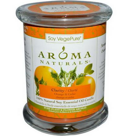 Aroma Naturals, Soy VegePure, 100% Natural Soy Essential Oil Candle, Clarity, Orange&Cedar 260g