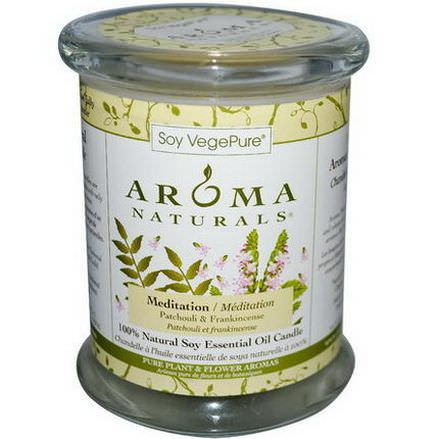 Aroma Naturals, Soy VegePure, 100% Natural Soy Pillar Candle, Meditation, Patchouli&Frankincense 260g
