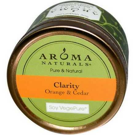 Aroma Naturals, Soy VegePure, Clarity, Travel Candle, Orange&Cedar 79.38g