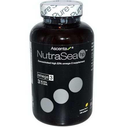 Ascenta, NutraSea hp, Lemon Flavor, 120 Softgels