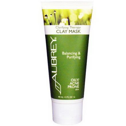 Aubrey Organics, Clarifying Therapy Clay Mask, Oily / Acne Prone Skin 89ml