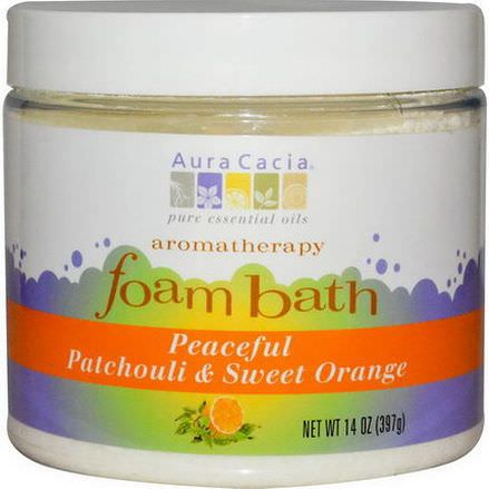 Aura Cacia, Aromatherapy Foam Bath, Patchouli/Sweet Orange 397g
