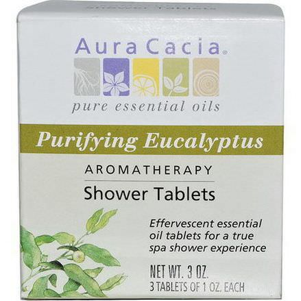 Aura Cacia, Aromatherapy Shower Tablets, Purifying Eucalyptus, 3 Tablets, 1 oz Each