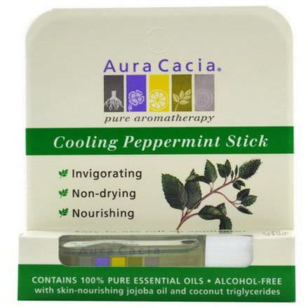 Aura Cacia, Cooling Peppermint Stick, Roll-On, Alcohol-Free 8.6ml