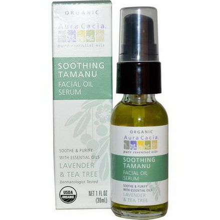 Aura Cacia, Soothing Tamanu Essentials Facial Oil Serum, Lavender&Tea Tree 30ml