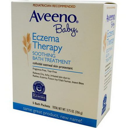 Aveeno, Baby, Eczema Therapy, Soothing Bath Treatment, Fragrance Free, 5 Bath Packets 106g