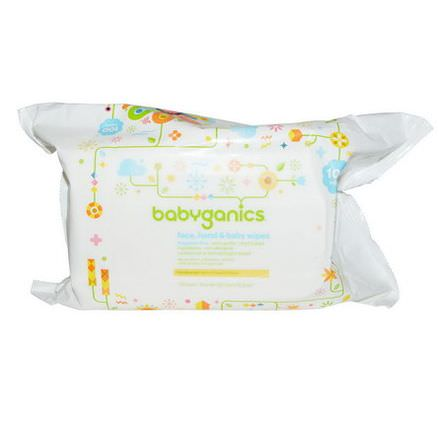 BabyGanics, Face, Hand&Baby Wipes, Fragrance Free, 100 Wipes