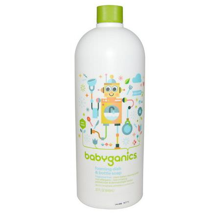 BabyGanics, Foaming Dish&Bottle Soap, Eco Refill, Fragrance Free 946ml