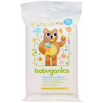 BabyGanics, Hand&Face Wipes, Fragrance Free, 30 Wipes