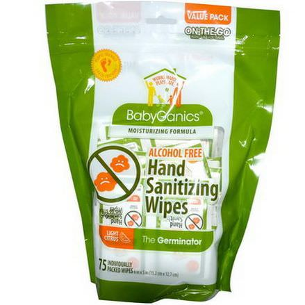 BabyGanics, Hand Sanitizing Wipes, The Germinator, Alcohol Free, Light Citrus, 75 Wipes