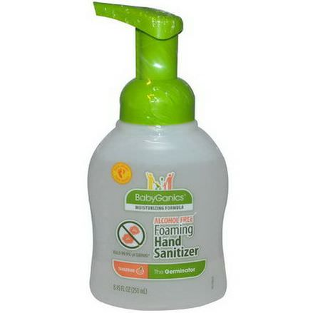 BabyGanics, The Germinator, Foaming Hand Sanitizer, Alcohol Free, Tangerine 250ml