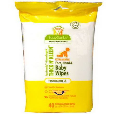 BabyGanics, Thick n'Kleen, Extra Gentle Face, Hand&Baby Wipes, Fragrance Free, 40 Wipes 8 in x 6.3 in Each