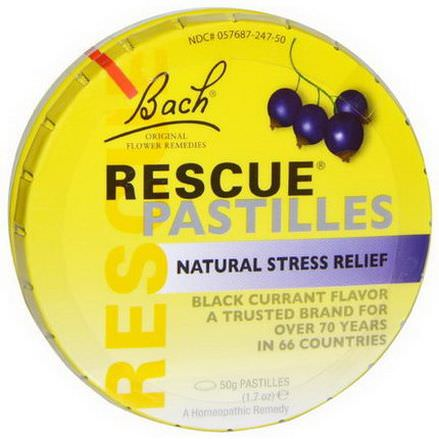 Bach, Original Flower Remedies, Rescue Pastilles, Natural Stress Relief 50g Black Currant Flavor