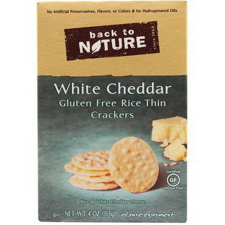 Back to Nature, Gluten Free Rice Thin Crackers, White Cheddar 113g