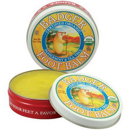 Badger Company, Foot Balm, Peppermint&Tea Tree 56g