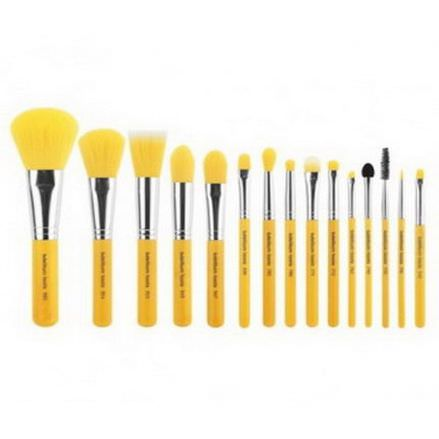 Bdellium Tools, Yellow Bambu, Complete Brush Set, 15 Brushes and Pouch