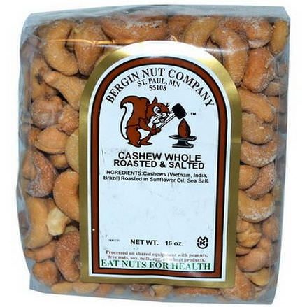 Bergin Fruit and Nut Company, Cashew, Whole, Roasted&Salted, 16 oz