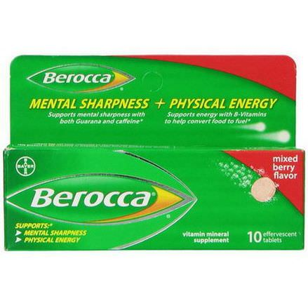 Berocca, Vitamin Mineral Supplement, Mixed Berry Flavor, 10 Effervescent Tablets