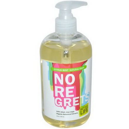 Better Life, No Re Grets, Natural Hand Soap, Citrus Mint 354ml