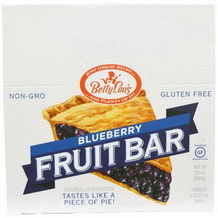 Betty Lou's, Fruit Bar, Blueberry, 12 Bars 57g Each