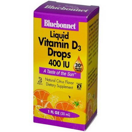 Bluebonnet Nutrition, Liquid Vitamin D3 Drops, Natural Citrus Flavor, 400 IU 30ml