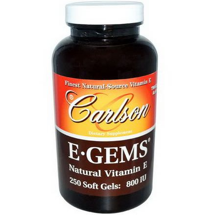 Carlson Labs, E Gems, Natural Vitamin E, 800 IU, 250 Softgels