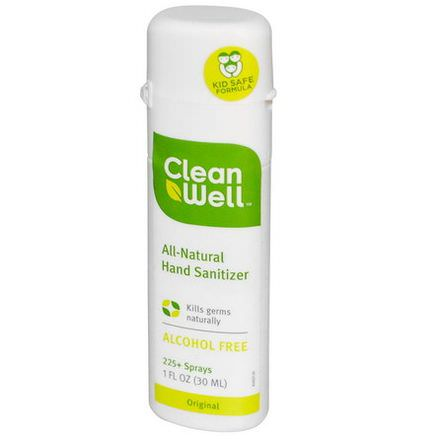 Clean Well, All-Natural Hand Sanitizer Spray, Original, Alcohol Free 30ml