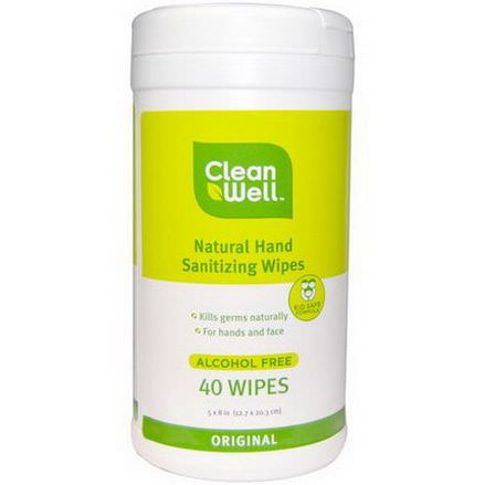Clean Well, All-Natural Hand Sanitizing Wipes, Alcohol Free, Original, 40 Wipes 12.7 x 20.3 cm Each